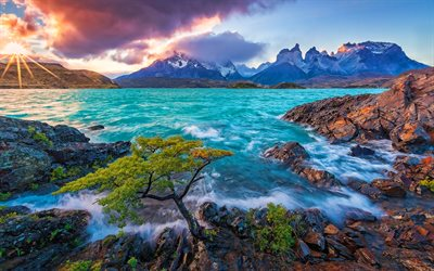 Torres del Paine National Park, sunset, sea, mountains, Patagonia, chilean nature, South America, beautiful nature