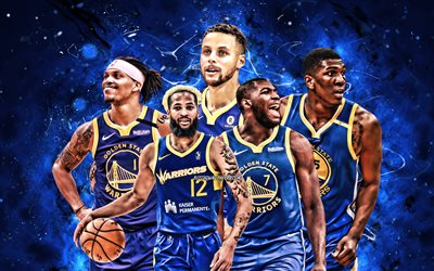Damion Lee, Ky Bowman, Stephen Curry, Eric Paschall, Kevon Looney, 4k, Golden State Warriors, basketball, NBA, Golden State Warriorsteam, blue neon lights, basketball stars