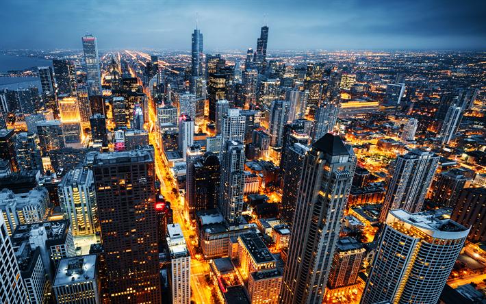 Descargar fondos de pantalla Chicago, 4k, estados UNIDOS, rascacielos, noche, metrópolis, la ciudad de las luces, Illinois  libre. Imágenes fondos de descarga gratuita