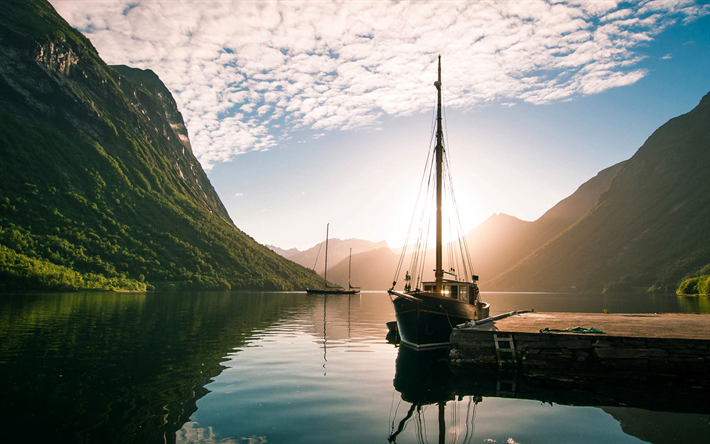 Download Wallpapers Norway Fjord Yacht Dock Sunset For