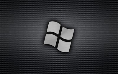 Windows, logo, metal grid, art, Microsoft