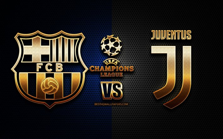 Download Wallpapers Barcelona Vs Juventus Season 2020 2021 Group G Uefa Champions League Metal Grid Backgrounds Golden Glitter Logo Fc Barcelona Juventus Fc Uefa For Desktop Free Pictures For Desktop Free