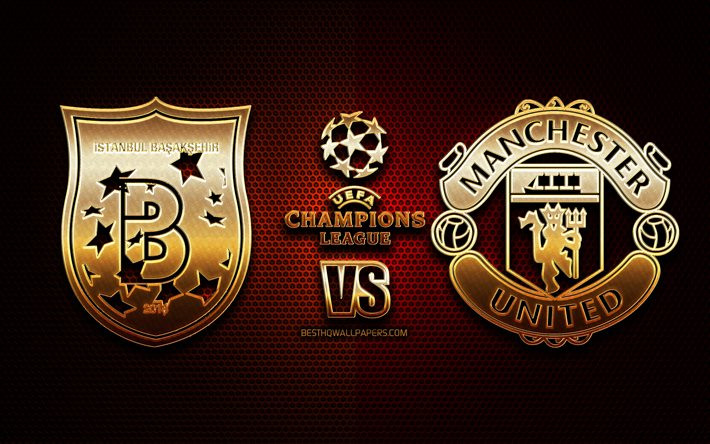 Download Wallpapers Istanbul Basaksehir Vs Manchester United Season 2020 2021 Group H Uefa Champions League Metal Grid Backgrounds Golden Glitter Logo Istanbul Basaksehir Fk Manchester United Fc Uefa For Desktop Free Pictures For