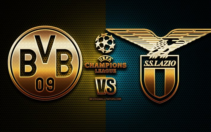 Download Wallpapers Borussia Dortmund Vs Lazio Season 2020 2021 Group F Uefa Champions League Metal Grid Backgrounds Golden Glitter Logo Bvb Ss Lazio Uefa For Desktop Free Pictures For Desktop Free