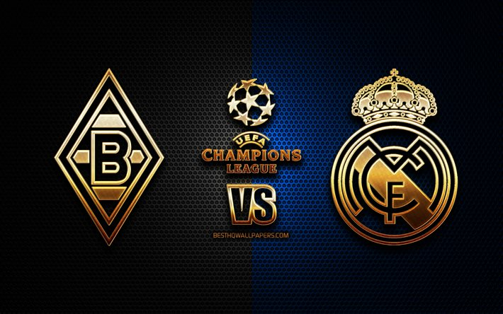Download Wallpapers Borussia Monchengladbach Vs Real Madrid Season 2020 2021 Group B Uefa Champions League Metal Grid Backgrounds Golden Glitter Logo Borussia Monchengladbach Real Madrid Cf Uefa For Desktop Free Pictures For Desktop