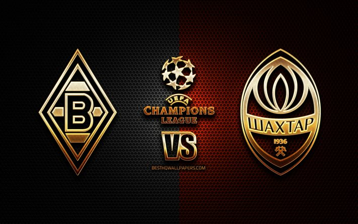 Download Wallpapers Borussia Monchengladbach Vs Shakhtar Donetsk Season 2020 2021 Group B Uefa Champions League Metal Grid Backgrounds Golden Glitter Logo Borussia Monchengladbach Fc Shakhtar Donetsk Uefa For Desktop Free Pictures For Desktop