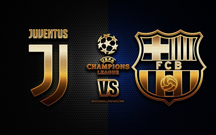 download wallpapers juventus vs barcelona season 2020 2021 group g uefa champions league metal grid backgrounds golden glitter logo fc barcelona juventus fc uefa for desktop free pictures for desktop free fc barcelona juventus fc uefa