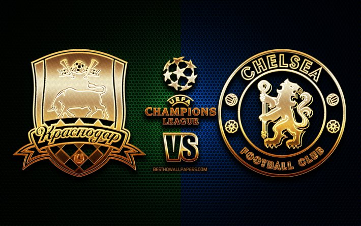 Download Wallpapers Krasnodar Vs Chelsea Season 2020 2021 Group E Uefa Champions League Metal Grid Backgrounds Golden Glitter Logo Fc Krasnodar Chelsea Fc Uefa For Desktop Free Pictures For Desktop Free