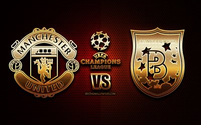 Download Wallpapers Manchester United Vs Istanbul Basaksehir Season 2020 2021 Group H Uefa Champions League Metal Grid Backgrounds Golden Glitter Logo Istanbul Basaksehir Fk Manchester United Fc Uefa For Desktop Free Pictures For