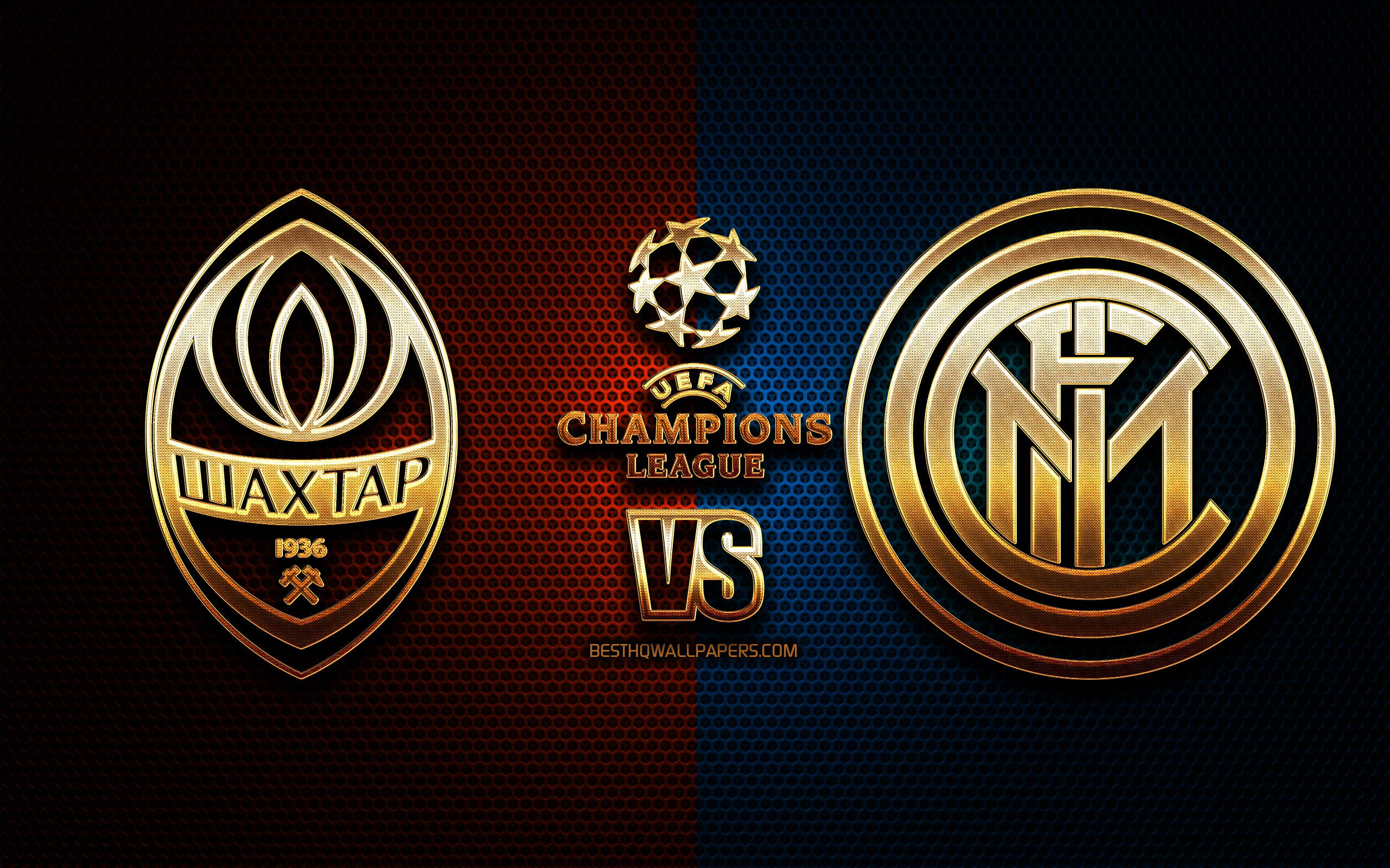Download wallpapers Shakhtar Donetsk vs Inter Milan, season 2020-2021, Group B, UEFA Champions League, metal grid backgrounds, golden glitter logo, Internazionale, FC Shakhtar Donetsk, UEFA for desktop with resolution 2560x1600. High Quality