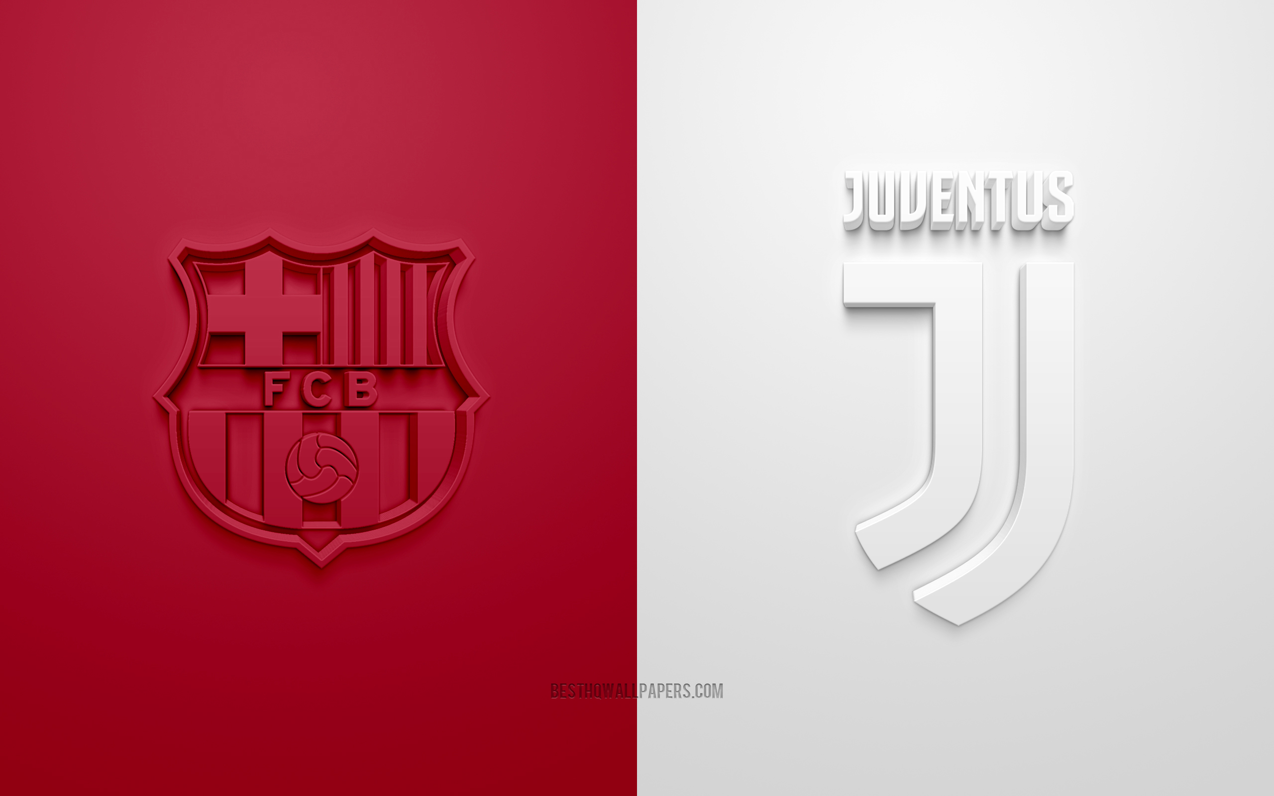 Download Wallpapers Barcelona Fc Vs Juventus Fc Uefa Champions League Group G 3d Logos Burgundy White Background Champions League Football Match Juventus Fc Barcelona Fc For Desktop With Resolution 2560x1600 High Quality