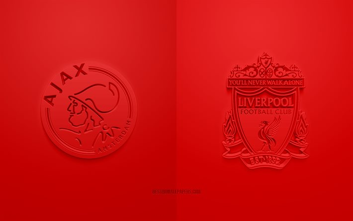 Ajax Amsterdam vs Liverpool FC, UEFA Champions League, Groupe D, Logos 3D, fond rouge, Ligue des Champions, match de football, Ajax Amsterdam, Liverpool FC