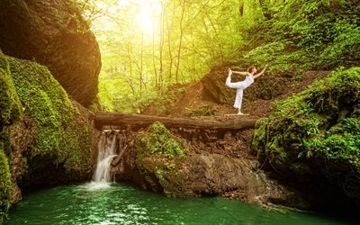 yoga, forest, waterfall, balance, beautiful nature, lake