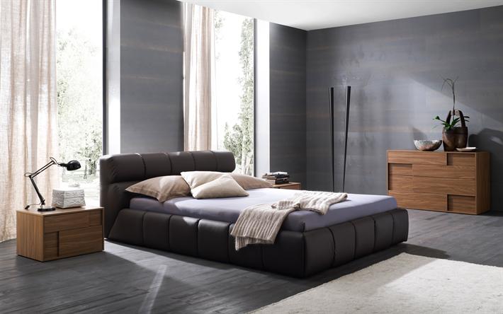 Camere Da Letto Pareti Grigie : Scarica sfondi interni camera da letto design moderno elegante