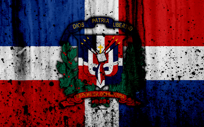 Download Wallpapers Dominican Republic Flag 4k Grunge North