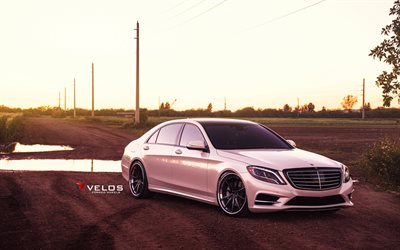 Velos Wheels, tuning, Mercedes-Benz S550, W222, 2017 cars, Velos S10, pink s-class, Mercedes