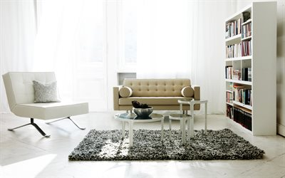 modern light interior, modern design, white leather armchair, interior of the living room