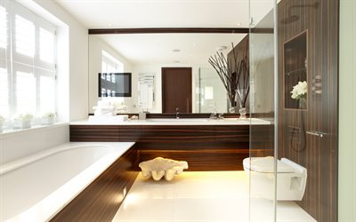 bathroom interior, modern design, brown wood panels, wood tile, bathroom, stylish design