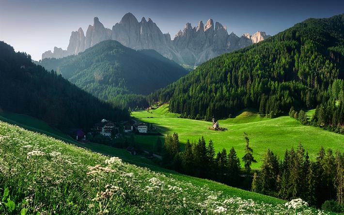 Scarica Sfondi Dolomiti Montagna Villaggio Europa San Giovanni