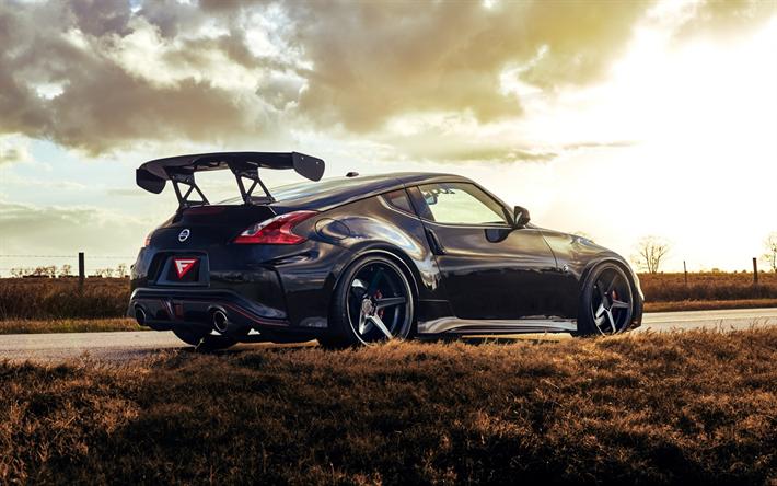 Nissan 370Z Nismo, 2017, Black 370Z, Sports Car, Rear View, Rear