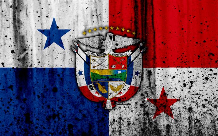 Panama flag, 4k, grunge, North America, flag of Panama, national symbols
