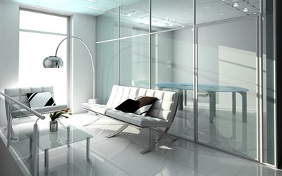 modern bright interior, office, white design, interior of the psychologist office, white leather sofa, glass wall