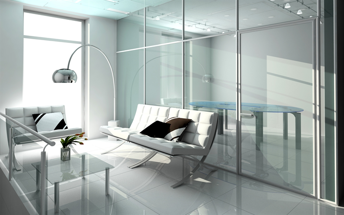 Modern Bright Interior, Office, White Design, Interior Of The Psychologist  Office, White
