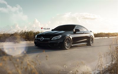 Velos Wheels, tuning, Mercedes-AMG C63S Coupe, 2017 cars, Velos VLS03, supercars, Mercedes