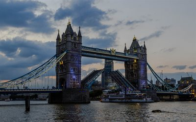 London, Tower Bridge, Thames, evening, landmark, England, UK