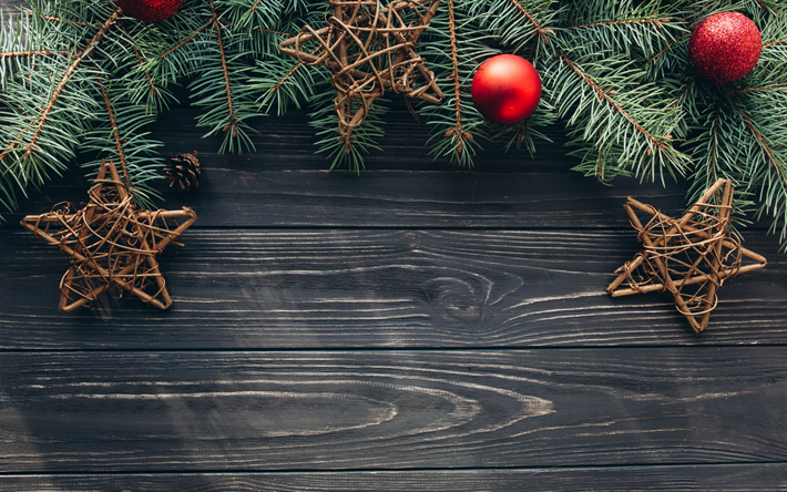 Download wallpapers gray wooden background, Christmas tree