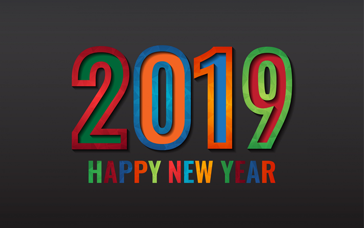 happy new year 2019 year multicolored letters abstract bright letters 2019 concepts