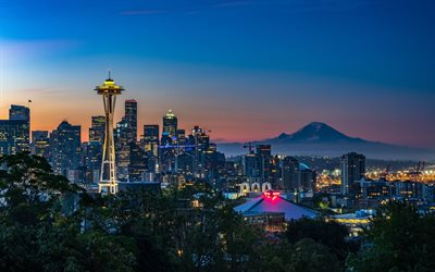 4k, Seattle, sunset, Kerry Park, cityscapes, USA, America