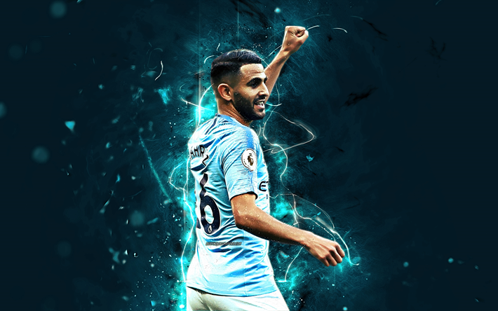 Download Wallpapers Riyad Mahrez, Back View, Manchester City FC, Algerian Footballers, Soccer