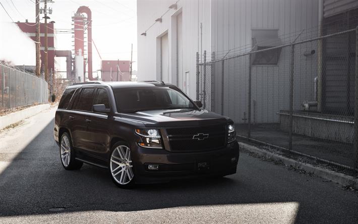 Download Wallpapers Chevrolet Tahoe, 2018, Black Big Suv -9474
