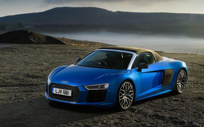 Audi R8 Spyder, Offorad, 2018 Cars, Supercars, Cabriolets, Blue R8,