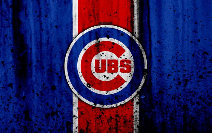 Download wallpapers 4k, Chicago Cubs, grunge, baseball ...