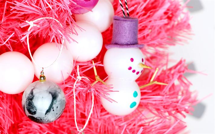 Snowman Christmas Decorations Balls Happy New Year Merry Xmas