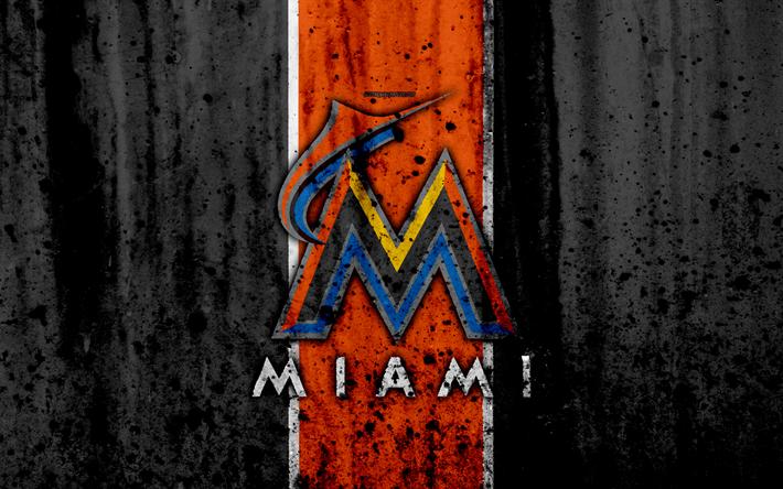 4k Miami Marlins Grunge Baseball Club MLB America USA