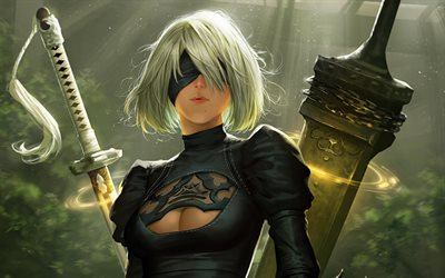NieR Automata, 2017, RPG, 4k, poster, new game, computer games