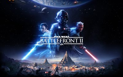 Star Wars Battlefront II, 2017, poster, 4k, characters, shooter, Star Wars