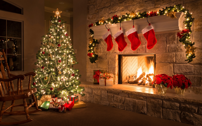 Christmas tree, fireplace, evening, New Year, Christmas, interior, gifts, garland, xmas