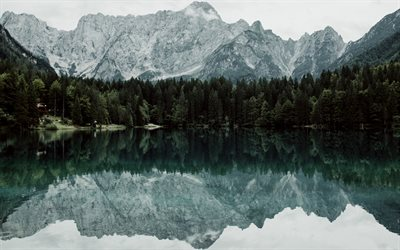 mountain lake, evening, mountain landscape, emerald lake, forest, Alps