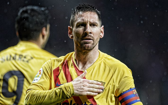 Lionel Messi, FC Barcelona, portrait, yellow uniform of FC Barcelona, La Liga, Spain, Catalonia, football, Leo Messi