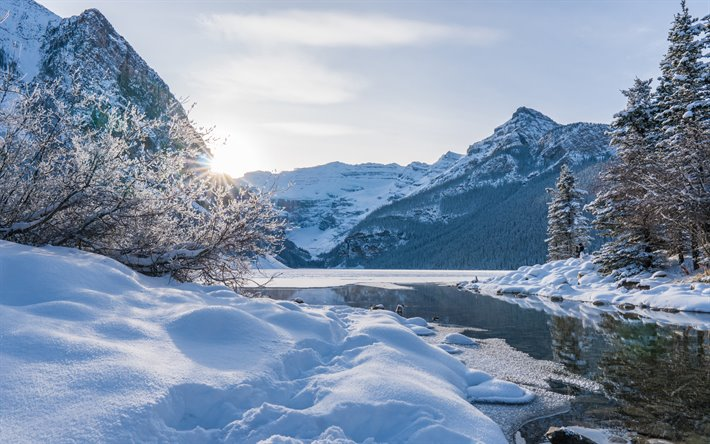 Download wallpapers Lake Louise, Rocky Mountains, winter ...