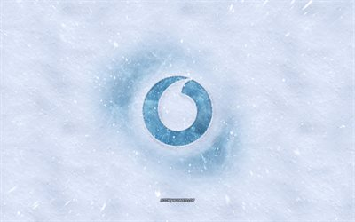 Vodafone logo, winter concepts, snow texture, snow background, Vodafone emblem, winter art, Vodafone