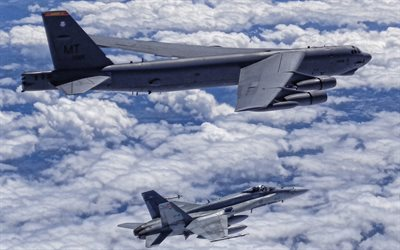 Boeing B-52 Stratofortress, american strategic bomber, McDonnell Douglas FA-18 Hornet, American fighter, US Air Force, american military aircraft