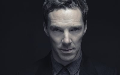 Benedict Cumberbatch, british actor, portrait, monochrome, British stars, photoshoot
