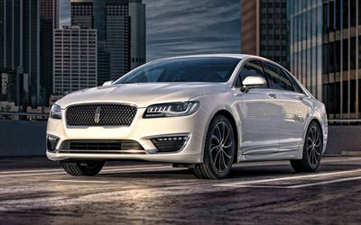 Lincoln MKZ, 2019, exterior, front view, new white MKZ, american cars, Lincoln