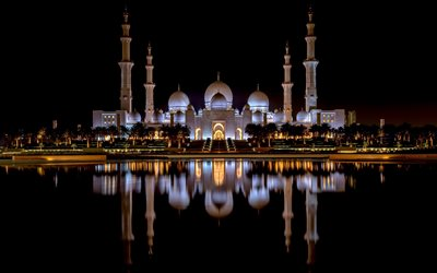 Sheikh Zayed Mosque, Abu Dhabi, night, evening, mosque, Abu Dhabi landmark, UAE, Sheikh Zayed Grand Mosque, United Arab Emirates