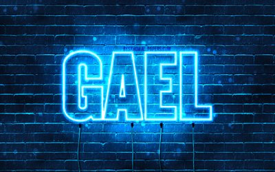 Gael, 4k, wallpapers with names, horizontal text, Gael name, blue neon lights, picture with Gael name